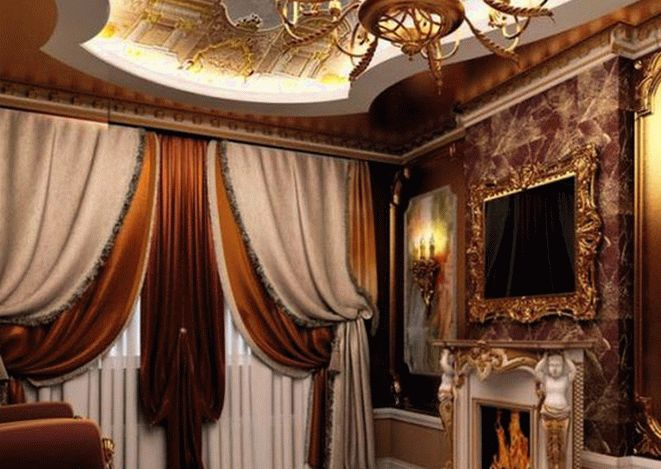 Сложные многослойные шторы для окон в классическом стиле