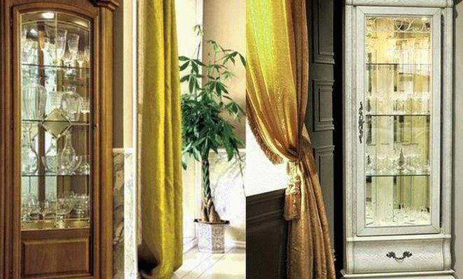 Эффектные и практичные угловые витрины для гостиной