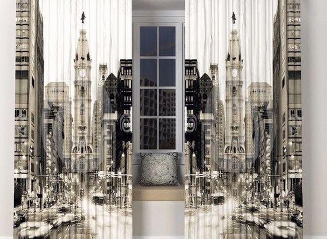 Трёхмерное изображение города на шторах для зала