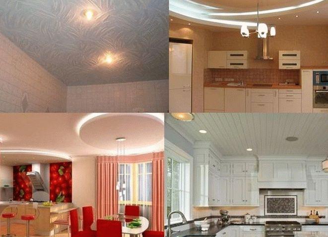Разнообразие потолков на кухне