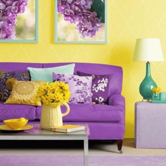 Фиолетовый и желтый в интерьере: фото