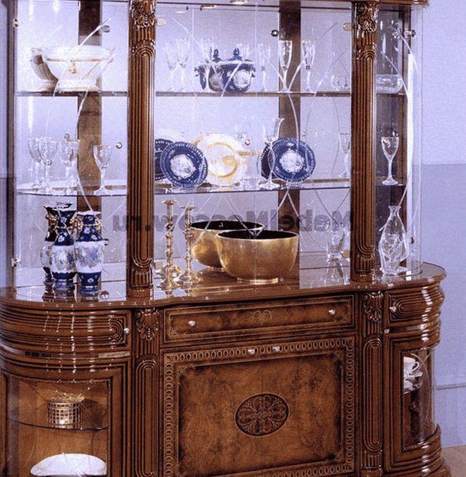 Шкаф витрина для гостиной формой буфет