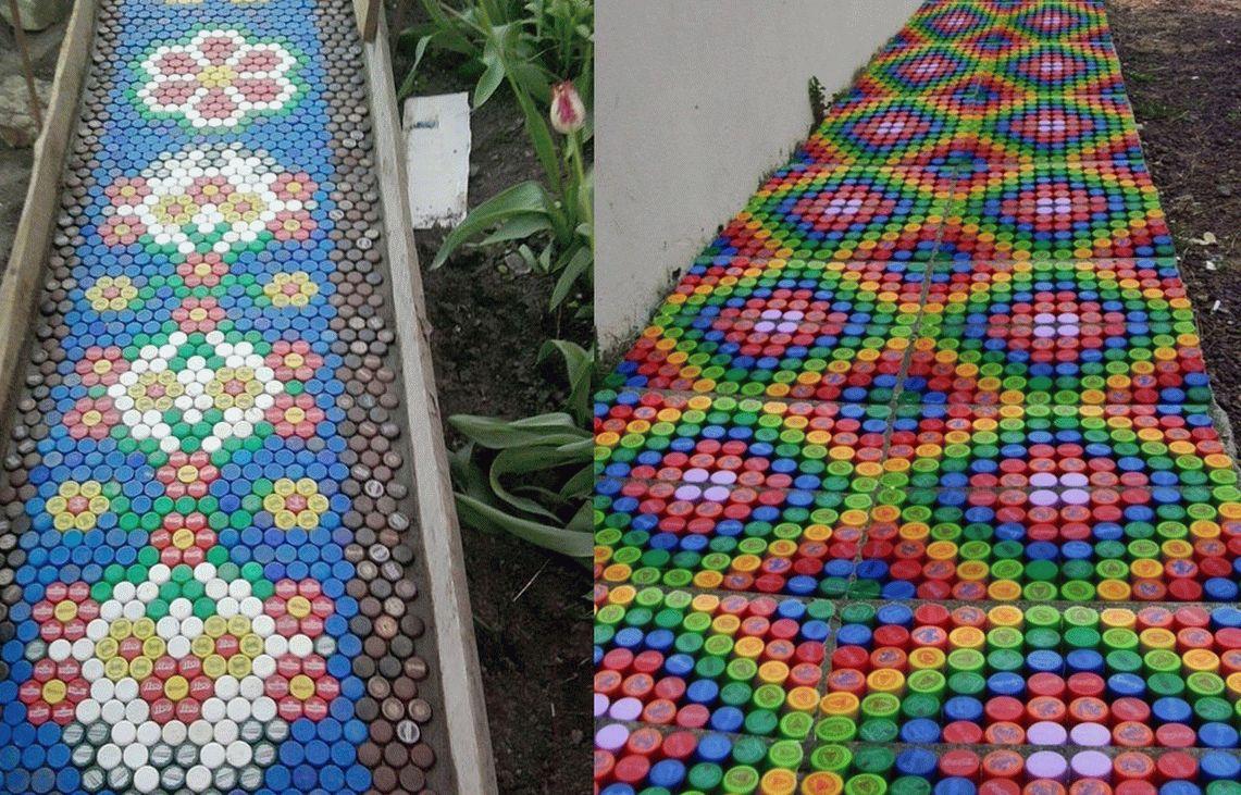 Дорожки из крышек пластиковых бутылок
