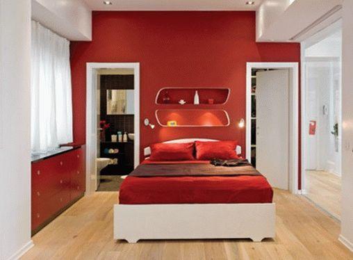 Красно-белая спальня в стиле минимализм