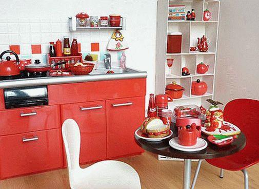 красно-белая кухня в интерьере фото