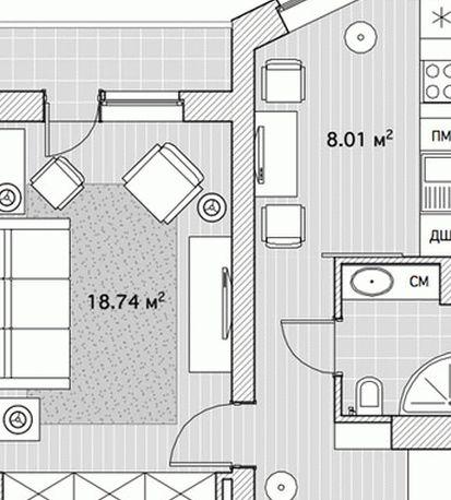 дизайн однокомнатной квартиры для молодой пары 009