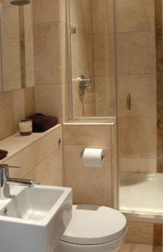 Бежевый дизайн маленькой ванной