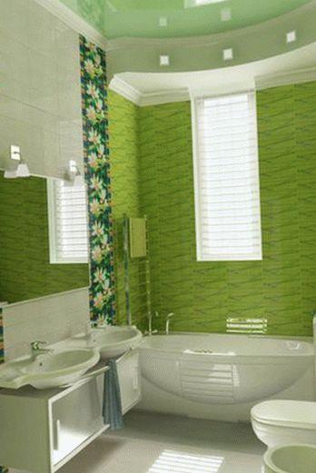 Натяжной потолок в зеленом интерьере