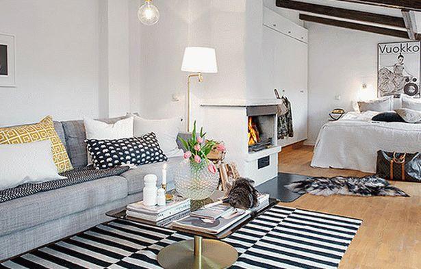 гостиная и спальня в одной комнате 22