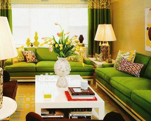 Зеленый цвет в интерьере фото