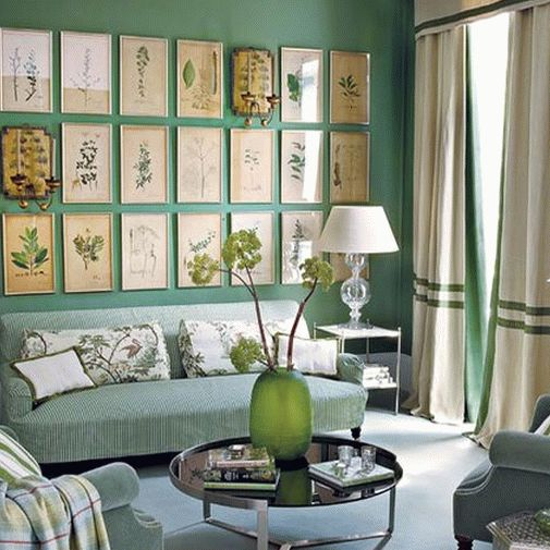 Различные оттенки зеленого цвета в интерьере