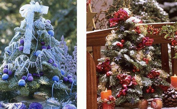 новогоднее украшение дома - маленькие елочки 001