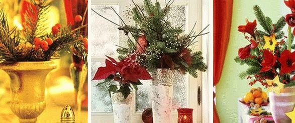 новогоднее украшение дома - букеты из сосновых веток 011