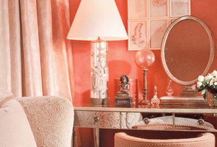 Персиковый цвет в спальне