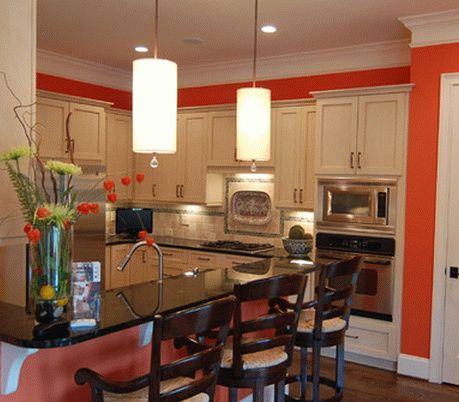 Использование кораллового цвета в интерьере кухни