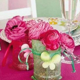 украшение стола композициями из цветов 09