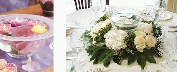 украшение стола цветами и свечами фото1