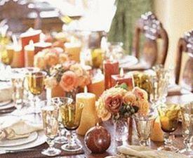 украшение стола цветами и свечами фото4