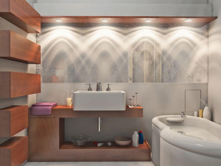 Оригинальное освещение в ванной
