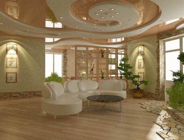 Дизайн потолков из гипсократона в большой гостиной