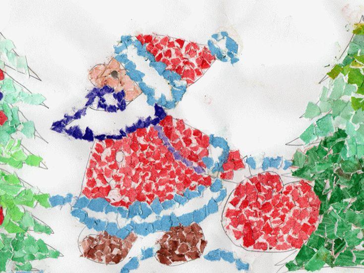 Мозаика из цветной бумаги к Новому Году