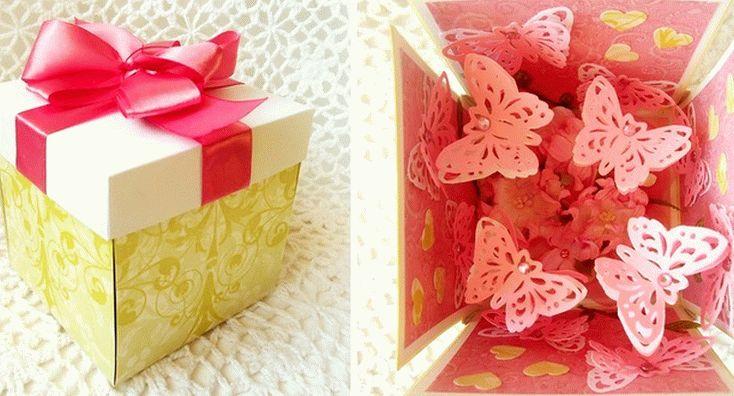 Подарок-коробка с бабочками