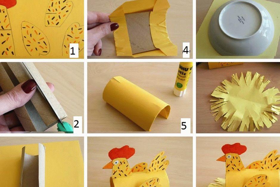 Пошаговое изготовление курицы из втулки от туалетной бумаги