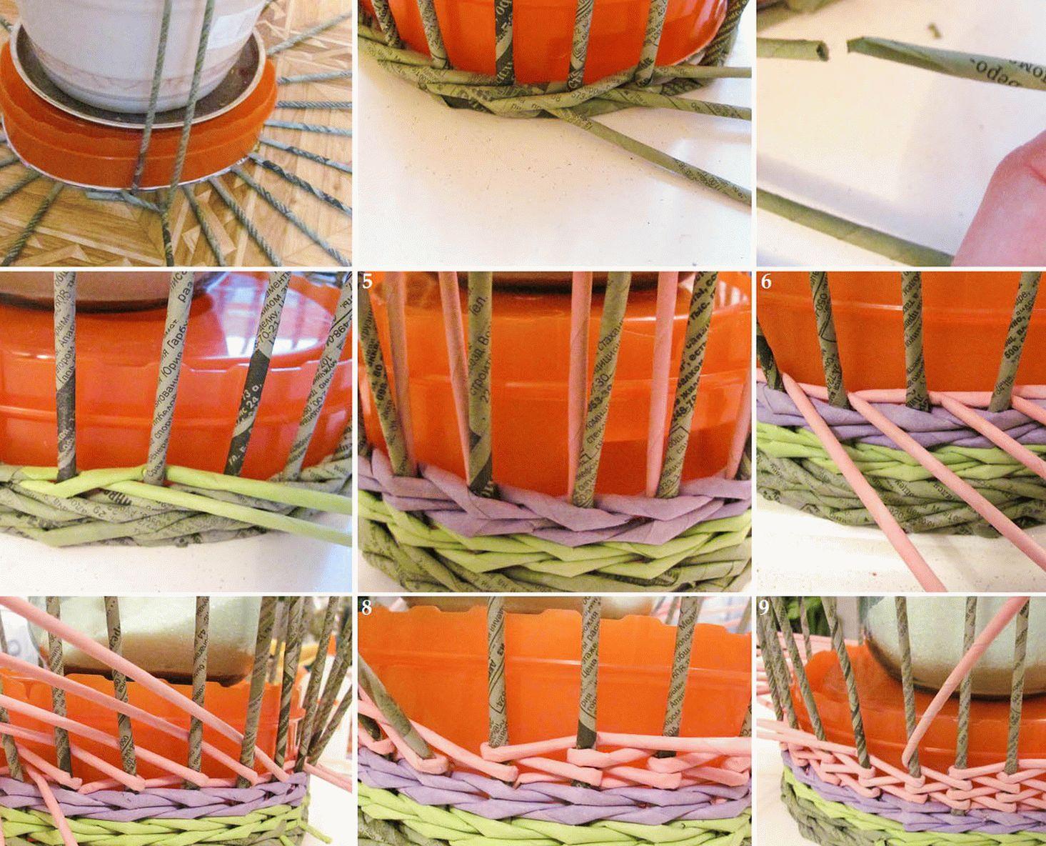 Послойное плетение корзинки из газетных трубочек