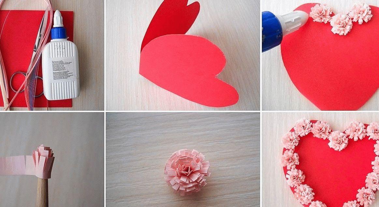 Украшение сердечек бумажными помпонами