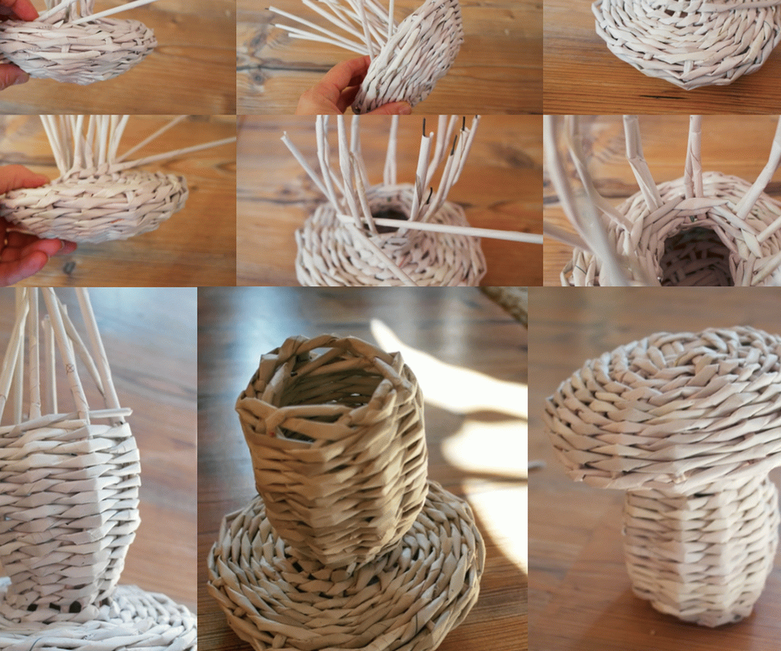Плетение ножки грибка