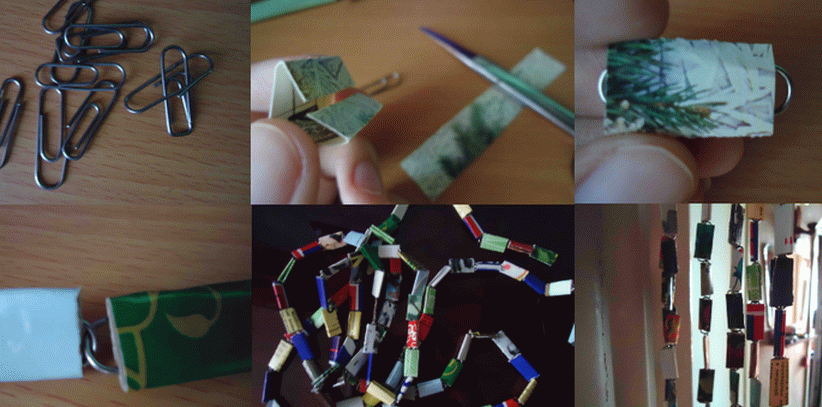Изготовление шторы из скрепок и старых открыток