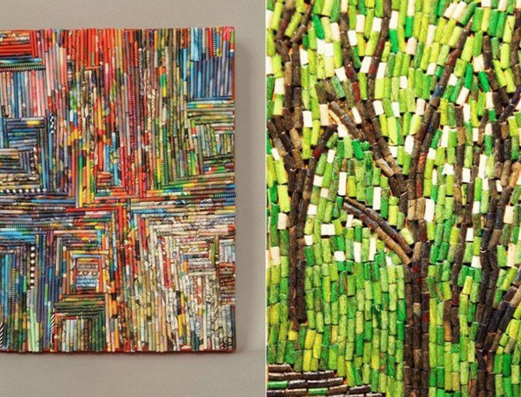 Варианты настенной мозаики из газетных трубочек