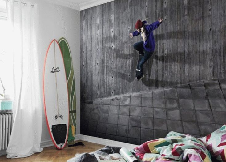 Фотообои в детской со скейтером