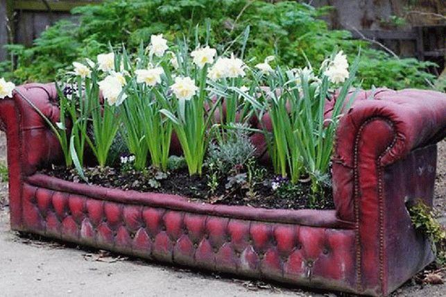 Старый диван - идея для дачного цветника