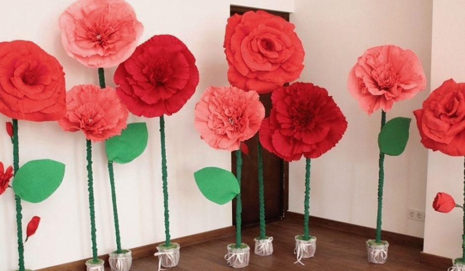 Большие цветы из гофробумаги