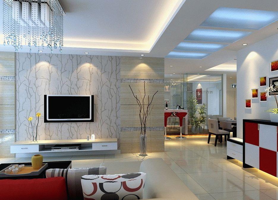 Натяжной потолок в современной гостиной комнате