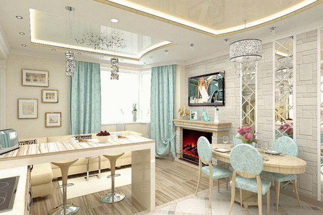 Креативный дизайн совмещенной кухни и гостиной