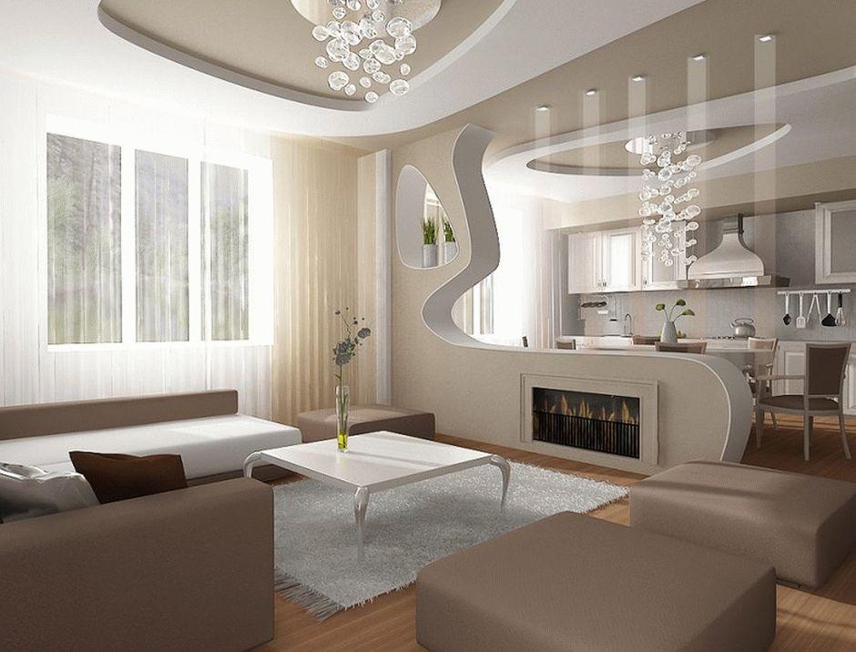 Современная стильная гостиная - дизайн натяжного потолка