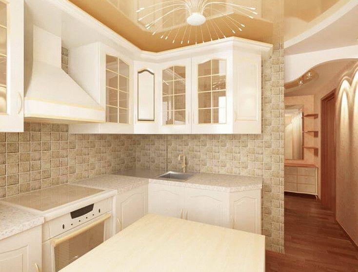 Красивый дизайн натяжного потолка в интерьере кухни