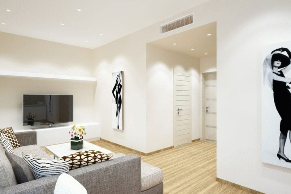 Матовый натяжной потолок в интерьере стильной гостиной